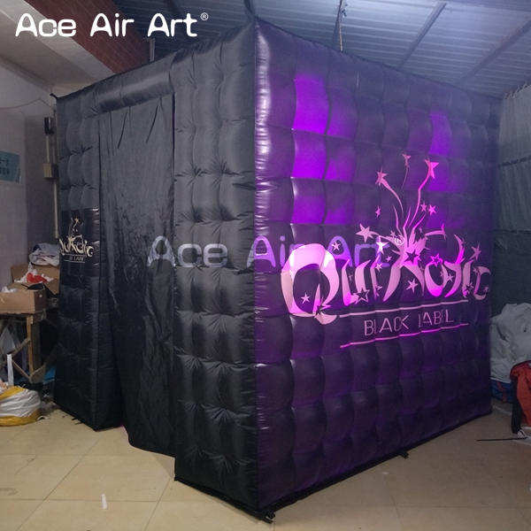 led lighting inflatable photo booth,black outerior social booth with 2 doors for wedding party