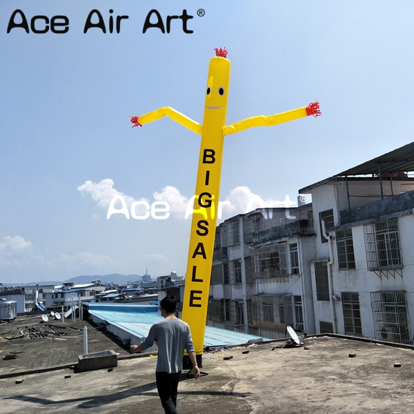 yellow waving inflatable air dancer sky puppet tube man with logo for advertising