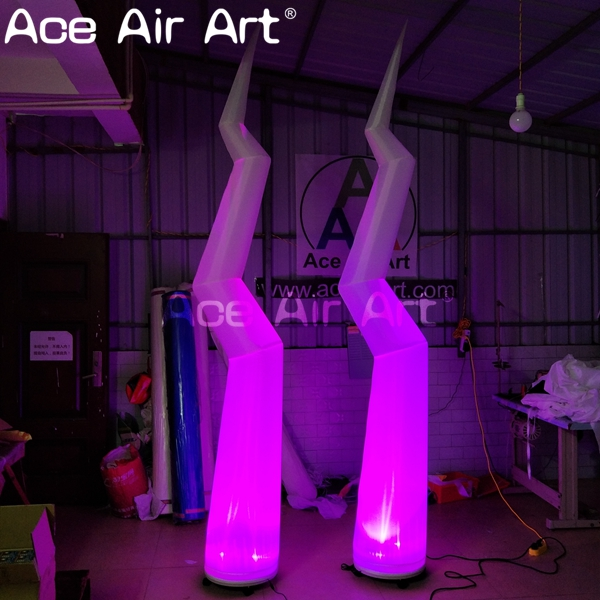 color changing inflatable LED flashing lightning for stage decoration