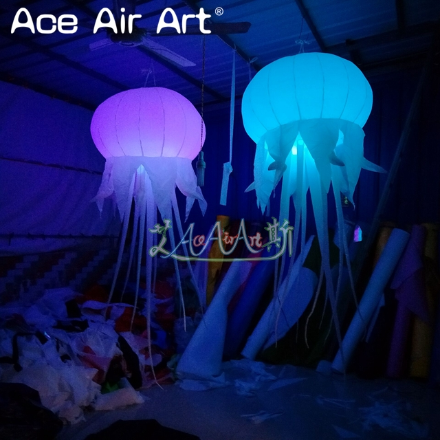Colorful led illuminating hanging inflatable jellyfish with air blower for wedding decoration