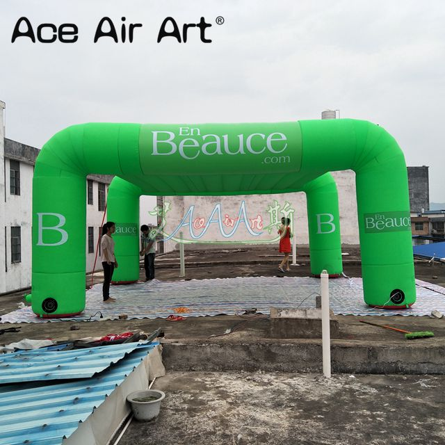 Customized green 4 legs advertising inflatable arch tent,show marquee with white logo and interior blowers for sale