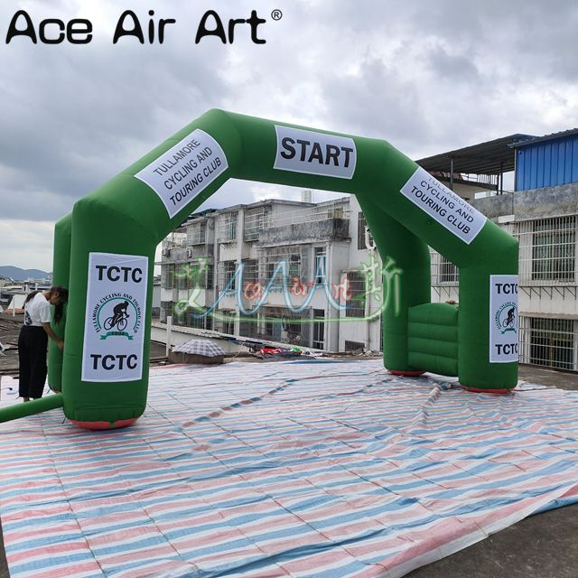 Green four legs inflatable race arch with individuality detachable sticker logo,free standing archway