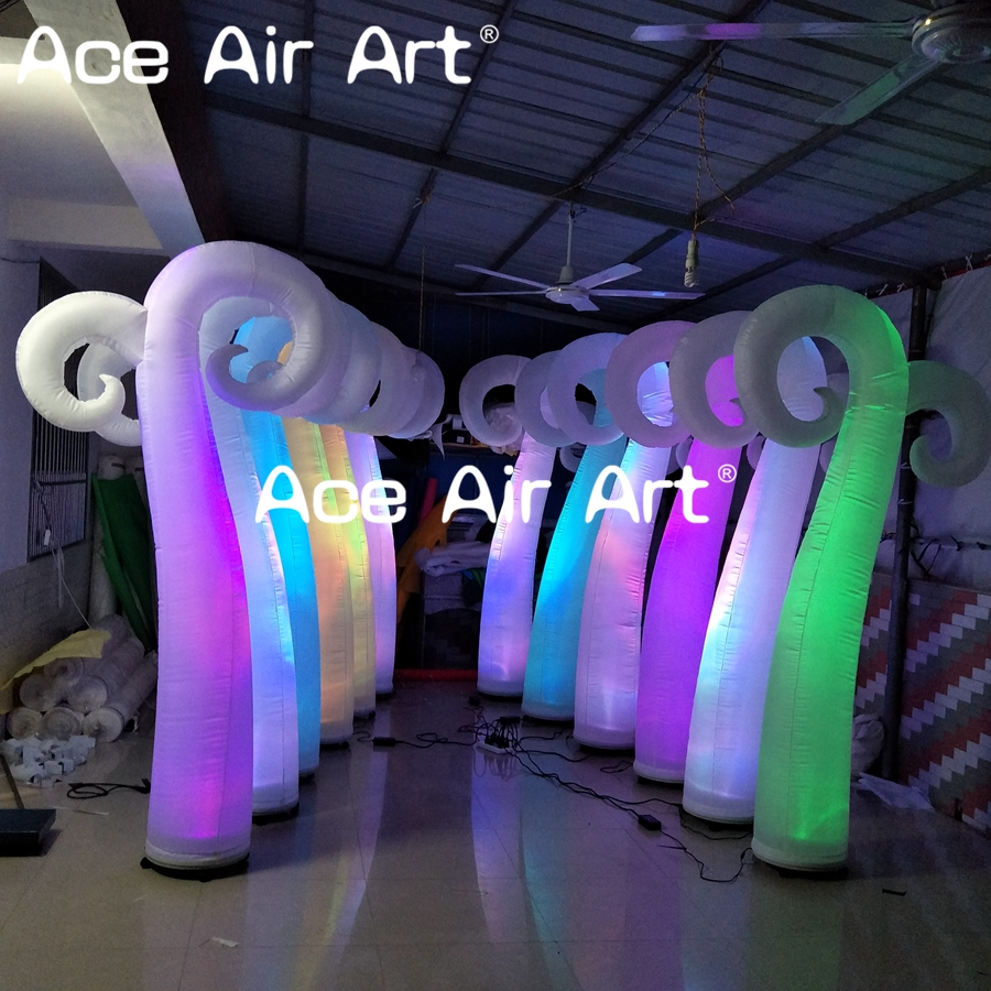 nice night club decoration inflatable ox horn column shape model with led light for event