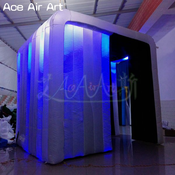White outerior black inside led spotlight inflatable photo booth props,sleek air private booth for France