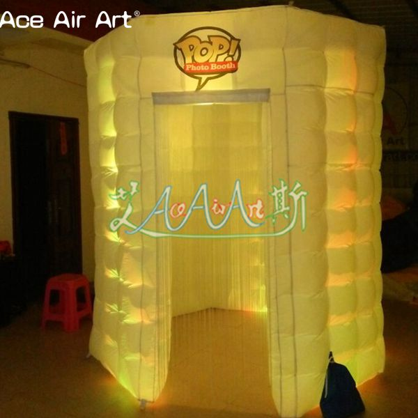 Led glowing white inflatable Octagon photo booth,Special shape booth backdrop with sticker window and door cover