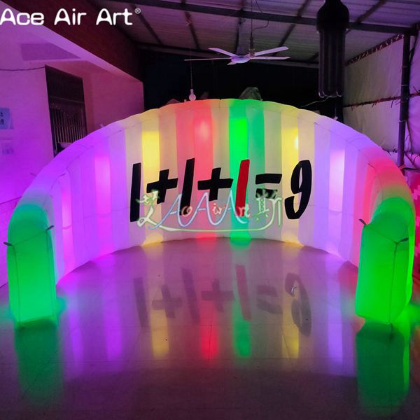 Colorful spotlights led inflatable exhibition wall,photo/DJ booth backdrop with logo for advertising