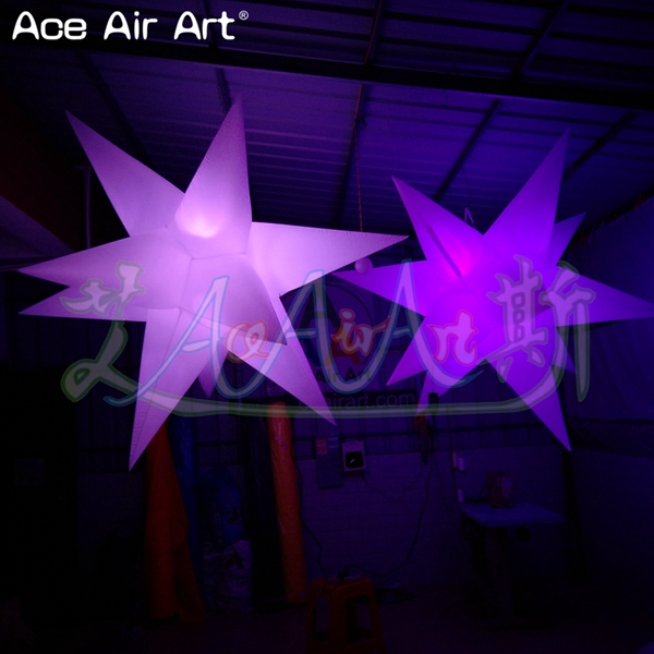 Giant white material led hanging stars inflatable star model with blower and UL/CE plug for Valentine's wedding decor