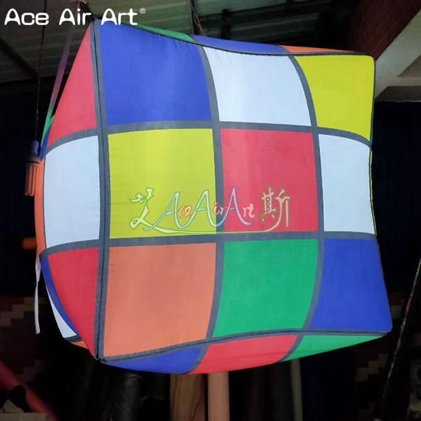 Customized led hanging decoration inflatable magic cube printing Rubik's cube balloon on sale.