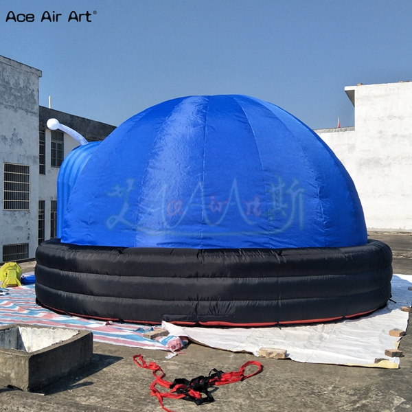 Snails shaped projection air dome inflatable sky movie 360 projection tent with mat on sale