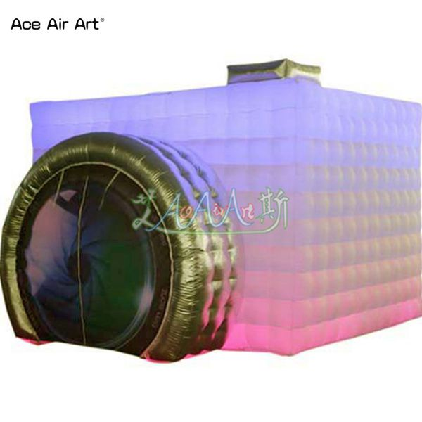 Customized camera shape inflatable photo booth tent,photo kiosk with gold/silver lence entry and spotlights for sale